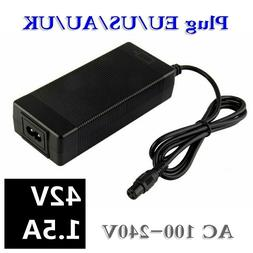 42V 1.5A Universal Battery Charger, 100-240VAC Power Supply