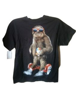 Boys Sloth Hoverboard Graphic T-Shirt - Black M