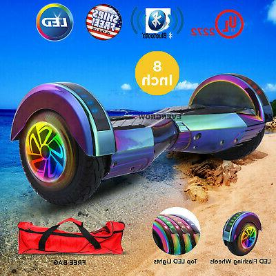 8 inch chrome rainbow hoverboard bluetooth smart