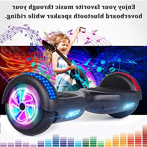 """Benedi Two-Wheel Balancing Scooter UL2272 Certified Hover with Bluetooth Speaker 6.5"""" and Top Colorful LED"""