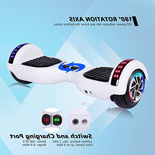 "Keepower Two 6.5"" Wheels Electric Scooter Motors Hover Adults Kids Gift Classic Series/LED Marquee/Bluetooth Speaker"