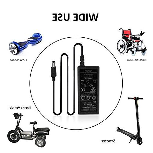 Perry Scooter Charger, 1.5A Bike Charger Adapter Supply Connector Lithium Hover