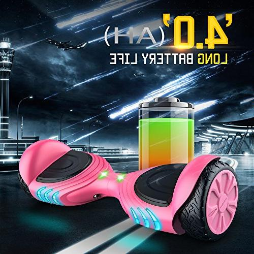 TOMOLOO Racing-Grade Widened Tires LED Hoverboard for and Two-Wheel Scooter- with Music Speaker- RGB Light