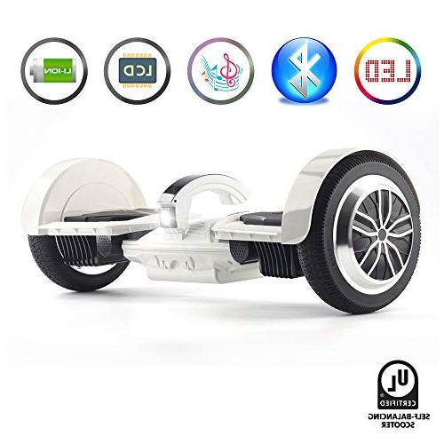 levit8ion Bluetooth Hoverboard - Wheel Electric UL Certified Detachable Cell Battery, Handle with Night