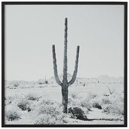 Modern Black and White Desert Cactus Photo on Wood, Black Fr