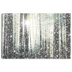 "Modern Silver and White Forest Print on Canvas, 36"" x 24"""