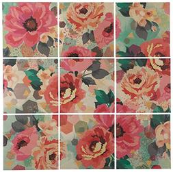 "9-Piece Pastel Floral Art Mural on Wood, 48"" x 48"""