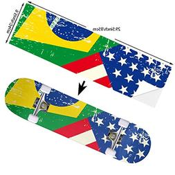 YEAH STAR USA Brazil Flag Skateboard Stickers Decals Anti-Fa